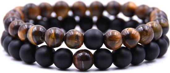 Natuursteen Armbandjes Set - Armbanden Heren En Dames - Armband Zwart - Armbandje Bruin - Vanaf 16 cm Polsdikte