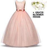Communie jurk Bruidsmeisjes jurk bruidsjurk zalm roze 122-128 (130) prinsessen jurk feestjurk + bloemenkrans