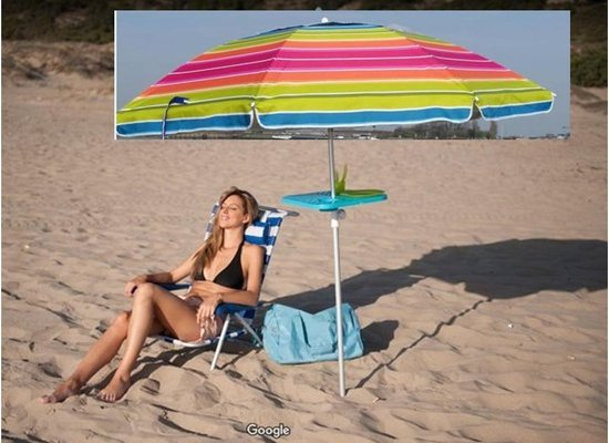 LUXE KLEURRIJKE ALUMINIUM PARASOL Model 200 - UV Bescherming - Zandboor - Kantelbaar - Draagtas - Windvaan