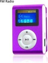 Mini clip MP3 speler FM radio met display Paars en