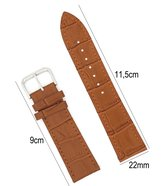 Horlogeband Leer 22mm - Croco Band + Push Pin - Donker Bruin - Sarzor