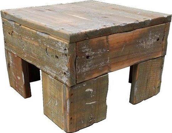 Houten bijzettafel vierkant – bijzettafeltje van hout 23 cm hoogte