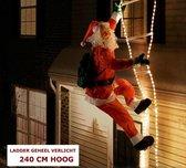 Kerstman met lichtgevende ladder - 240 cm