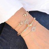 Joboly Set armbanden leaf blad knot diamant mandala 4 delig - Dames - Goudkleurig - 17 cm
