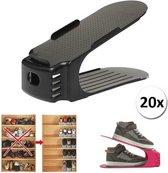 Schoenen Opbergsysteem Verstelbaar – 20 stuks - Schoenenrek – Schoenenkast – Schoen Organizer - Zwart