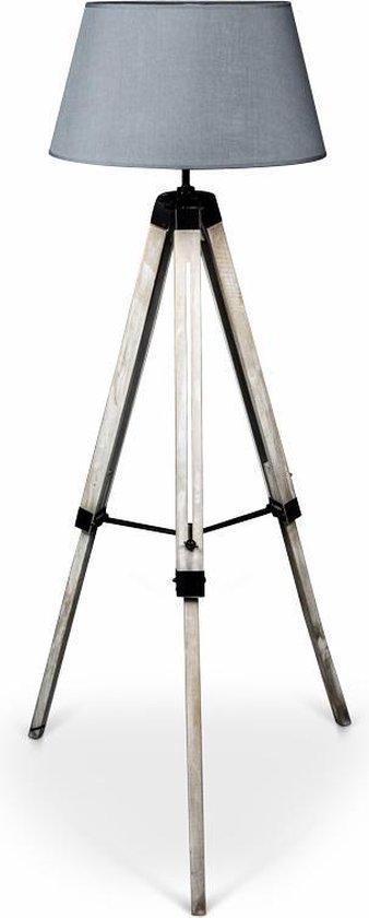 Lanterfant® Lamp Leen - lichtgrijs - Driepoot - Staande lamp