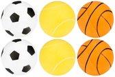Get & Go Tafeltennisballen met Print in Koker - 6 Stuks - Wit/Oranje/Geel