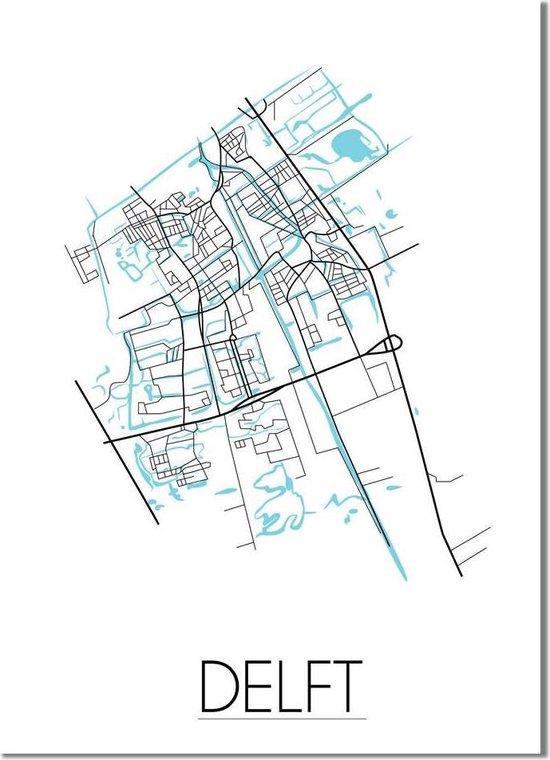 Plattegrond Delft Stadskaart Poster DesignClaud - Wit - A2 + fotolijst zwart