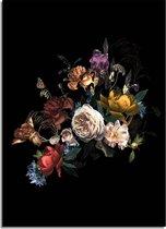 DesignClaud Vintage boeket bloemen poster - Bloemstillevens - Zwart + kleuren A4 poster (21x29,7cm)