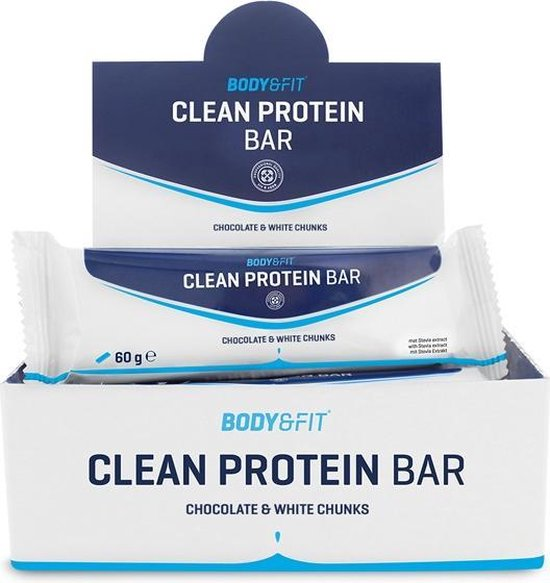 Body & Fit Clean Protein bar - Eiwitreep - 1 doos (12 eiwitrepen) - Chocolate & White Chunks