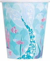 Unique Feestbekers Mermaid Multicolor 266 Ml 8 Stuks