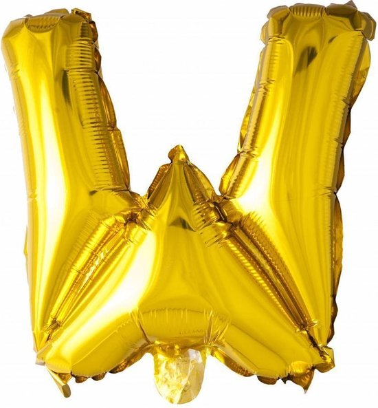 Folie Ballon Letter W Goud 41cm met Rietje