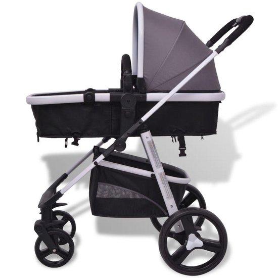 vidaXL Kinderwagen 3-in-1 - grijs en zwart - aluminium
