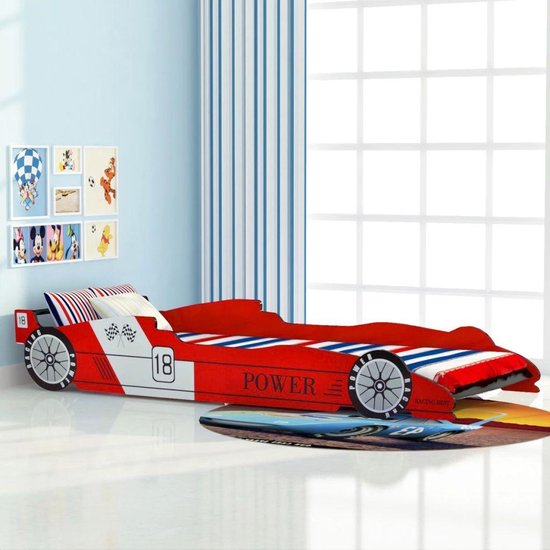 vidaXL Kinder race auto bed 90x200 cm rood