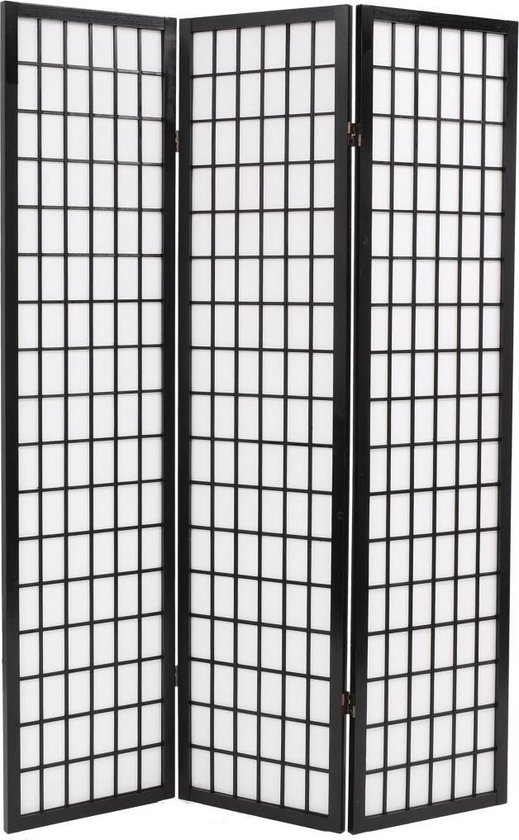 Kamerscherm inklapbaar Japanse stijl 120x170 cm zwart - vidaXL