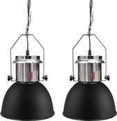 Moderne metalen hanglamp - zwart - set van twee