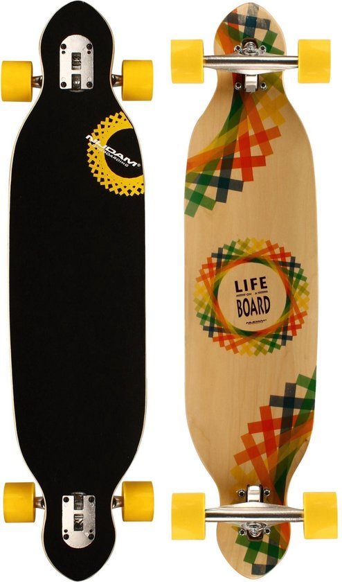 "Nijdam Longboard 38"" Drop-through - Criss Cross - Geel/Rood/Blauw/Groen"