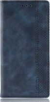 Mobigear Magnetic Buckle Retro Luxe Wallet Hoesje Blauw Motorola Moto One Vision