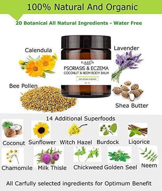 Laila London 100% Natuurlijke Psoriasis & Eczeem Coconut & Neem Body Balm 60g.