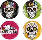 Day of The Dead Buttons 4 stuks
