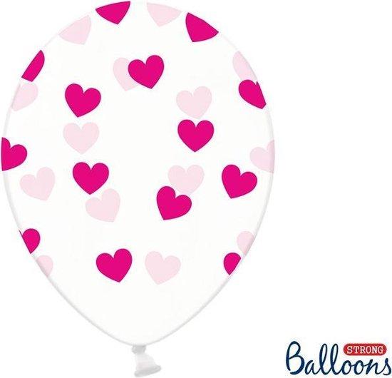 Partydeco 6 Ballonnen in zak hartjes crystal - Fuchsia 30cm