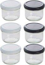 Cosy&Trendy confituurpotjes 120 ml - witte en zwarte deksels - Set-6