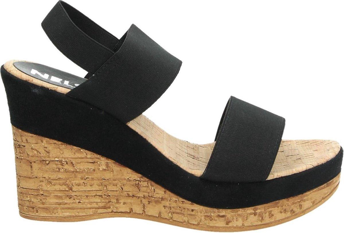 | Nelson dames sandaal op sleehak Zwart Maat 36