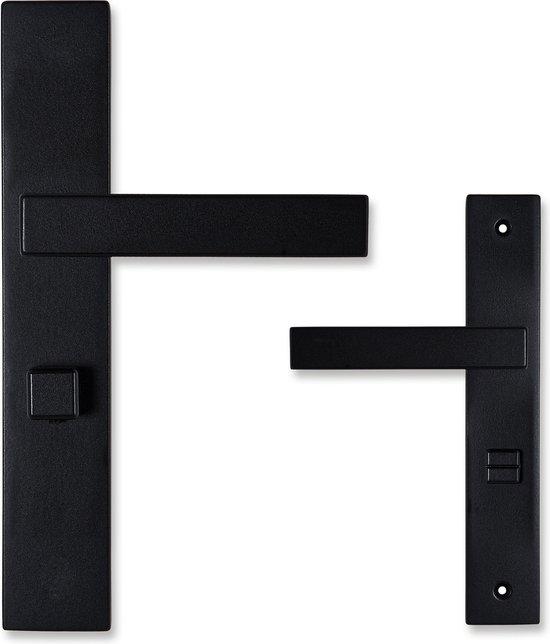 Bol Com Deurklink Met Wc Slot 63mm Eliot Serie Op Schild Mat Zwart Complete Set