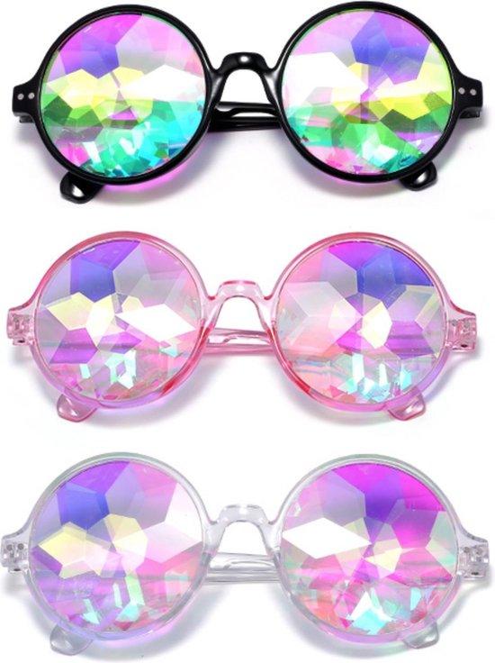Caleidoscoop bril roze montuur - diamant holografisch space - festival