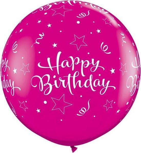 Megaballon Bedrukt 'Happy Birthday' Diamond Magenta 95 cm (2stuks)