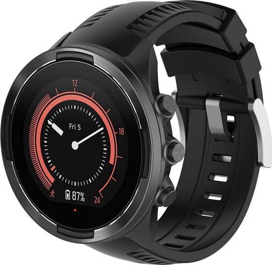 Siliconen Horloge Band Voor Suunto 9 / Spartan Sport Wrist HR Baro - Armband / Polsband / Strap Bandje / Sportband - Zwart
