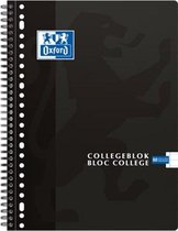 Oxford School Collegeblok - Schrijfblok - A4 - Lijn - 23 gaats - 80 vellen - Zwart