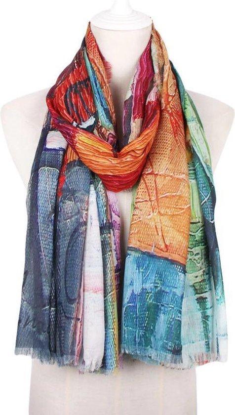 Artistieke meerkleurige dames sjaal van zacht viscose - 85 x 180 cm