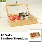 Decopatent® Theedoos - Luxe grote theedoos 10 Vaks -  Met doorzichtig venster - Bmboe - Hout - Theekist voor thee - Theebox