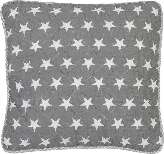 Clayre & Eef Kussenhoes - 40x40 grijs sterren