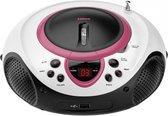 Lenco SCD-38 - Draagbare radio CD-speler met USB aansluiting - Wit/Roze