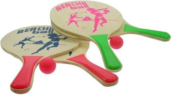 Afbeelding van het spel Beachball Set Naturel Hout 8Mm 04202