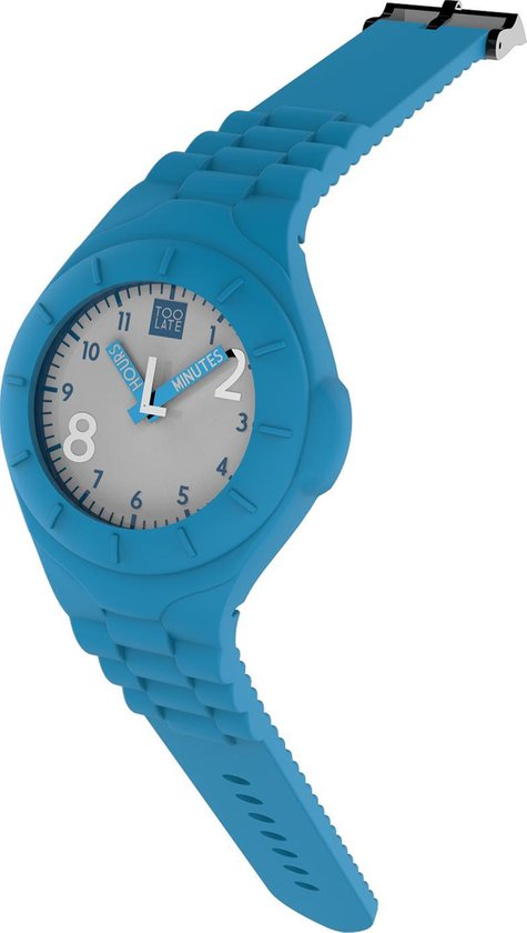 TOO LATE – siliconen horloge – MASH UP LORD REG – Ø 40 mm – acd light blue
