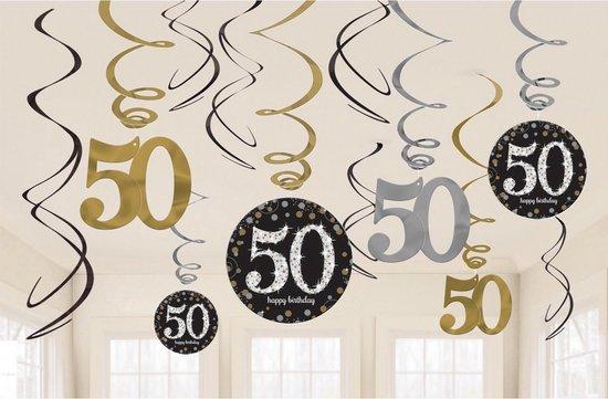 Hangdecoratie 50 Jaar Happy Birthday 61cm 12st - Multi Colour