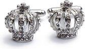 Manchetknopen - Kroon Queen Zilver Diamantjes