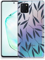Back Cover Samsung Note 10 Lite TPU Siliconen Hoesje Leaves Blue