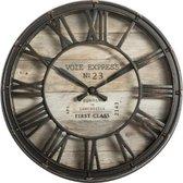 Wandklok bruin - diameter 21 cm - Woonkamer Klok Industrieel - Landelijke wandklok - Keukenklok - Vintage Klok -