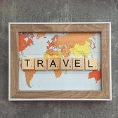 Schilderijtje 3D. Travel. TRAVEL. 16 x 21 cm.
