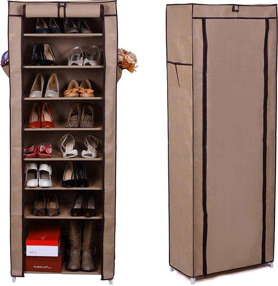 Hoog Schoenenrek - Schoenenkast met Beschermende Hoes - 10 Lagen - 27 paar Schoenen