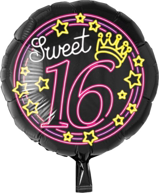 Folieballon - Sweet 16 - Neon - Zonder vulling