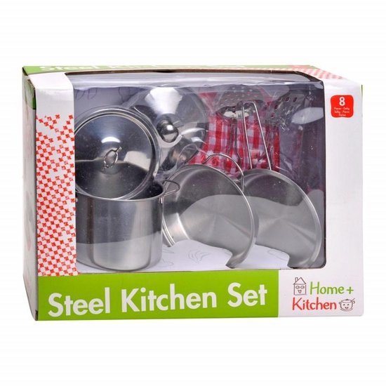 Home and Kitchen Stalen pannenset 8 delig