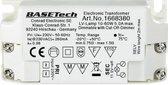 Halogeen transformator Basetech MT-60 12 V 10 - 60 W Dimbaar met faseafsnijdingsdimmer - Wit