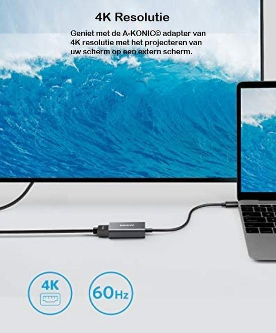 Usb C Naar HDMI Adapter | USB-C HUB 4K | Type-c to HDMI converter |Thunderbolt 3 | Compatible Apple Macbook | Chromebook | IMAC | Surface | XPS | Dell | Lenovo | Samsung | HP |Spacegrey | A-KONIC©