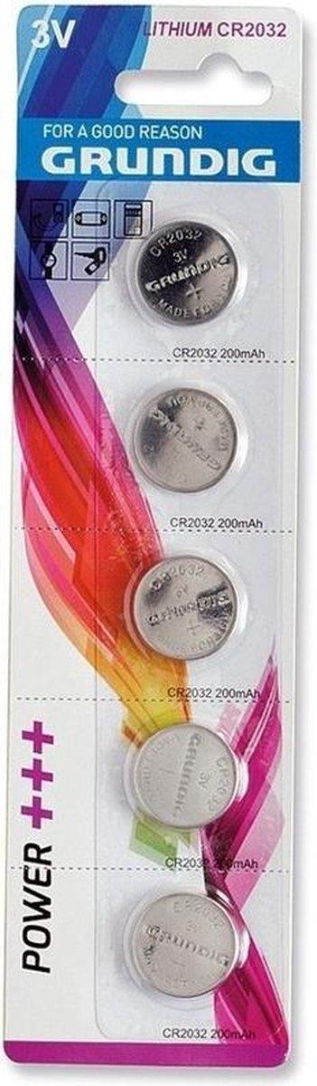5x Grundig knoopcel batterijen CR2032 3V - Platte knoopcel batterijen