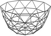 QUVIO Fruitschaal van metaal / Draad fruitmand diamantvorm / Diameter 25 cm - Zwart